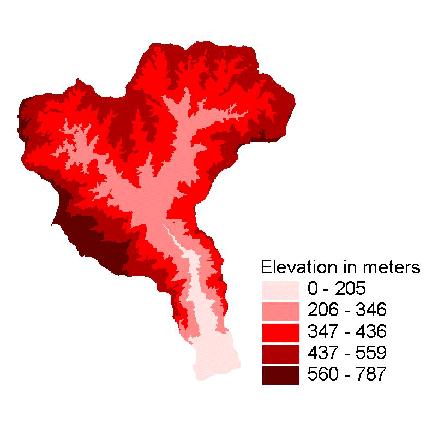 Digital Elevation Model (DEM) showing elevation.