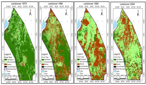 The easiest way to show spatial change over time: side by side maps each showing a slice of time.