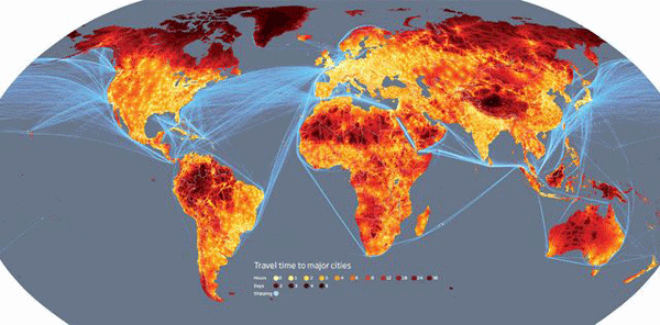 Map of global travel times.