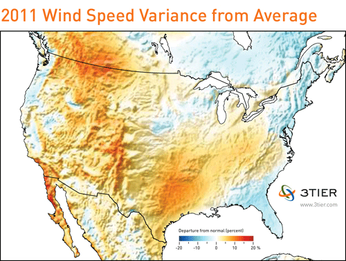 map of 2011 wind performance for the united states from 3tier