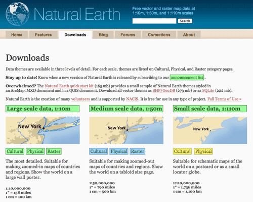 Free world GIS data from Natural Earth