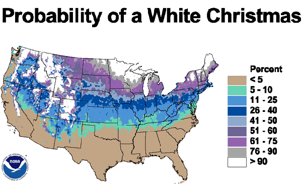 Map showing probabilities of a white christmas source noaa 2001