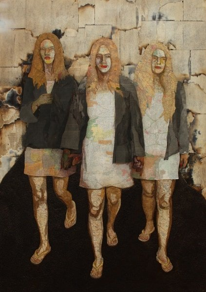 Charlie's Angels, 2009 Maps, book pages, Folger's coffee, ink, on wood panel