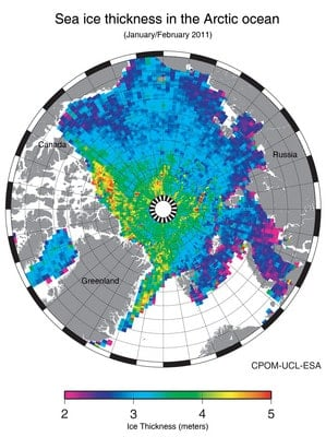 Arctice Sea Ice Thickness Map