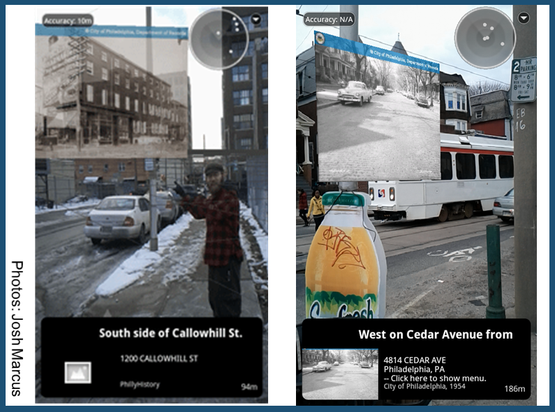 The image on the left shows relative position where the photo always directly faces the user. The image on the right shows absolute positioning where the photo is angled based on additional coordinates.