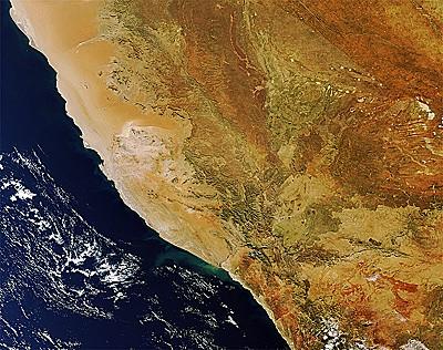 Namibia image taken 4 July 2011 by Envisat's Medium Resolution Imaging Spectrometer.  Credits: ESA.