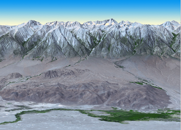 ASTER image acquired on July 14, 2011 of Mt. Whitney in the Sierra Nevada Mountains in California.  This image was draped over a digital elevation model produced from ASTER stereo data.  Image: NASA/GSFC/METI/ERSDAC/JAROS, and U.S./Japan ASTER Science Team