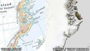 Times Atlas' depiction of Eastern Greenland's ice cover as compared to the ice cover as seen via a MODIS satellite image.