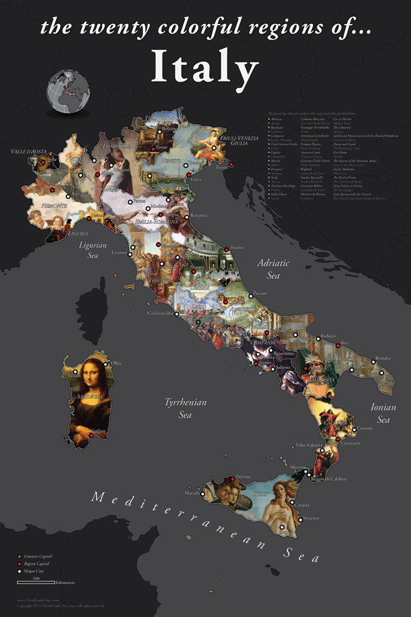 Map of Italy by David McCarter.