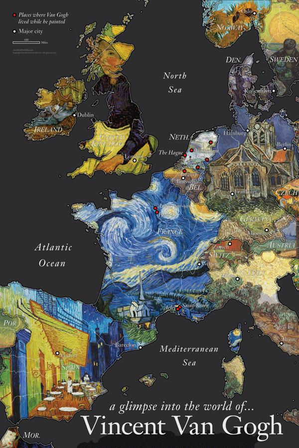 Van Gogh Mapped Onto Europe by David McCarter.