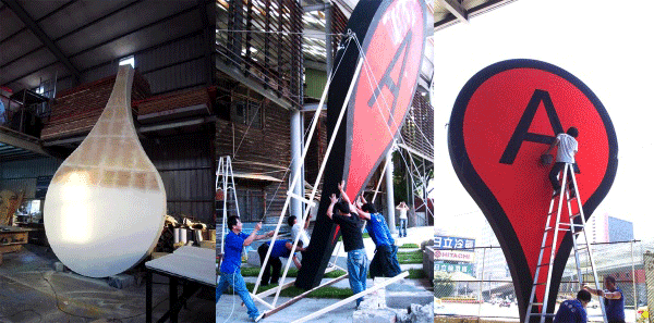 Making and erecting the Map installation in Taipai.  Source: Aram Bartholl.
