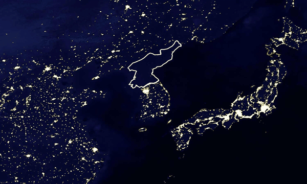 The country of North Korea (white outline) is utterly dark compared to the surrounding countries.  Source: NASA.