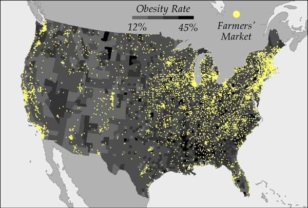 map of obesity rates as compared to farmers market locations