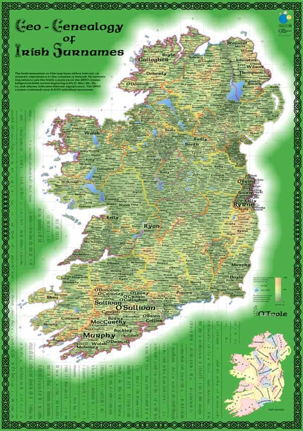 Map of Irish Surnames from 1890 Census.