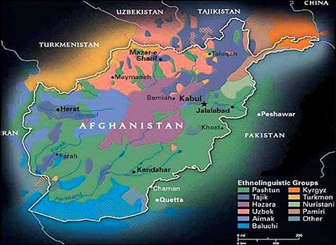 "Map showing ethnolinguistics groups in Afghanistan.  Source: <a href=""http://usacac.army.mil/cac2/call/docs/10-64/ch_4.asp"">United States Army Combined Arms Center</a>."