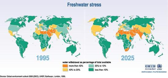 Map of Global Freshwater Stress, 2005.  Philippe Rekacewicz, UNEP/GRID-Arendal