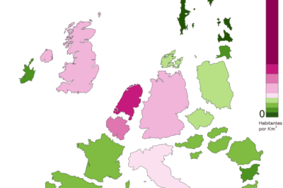 Noncontiguous cartogram showing population density within Europe. (Source: Vinny Burgoo). Projection: Lambert Azimuthal Equal Area. Data: January 2008 population data from Eurostat.