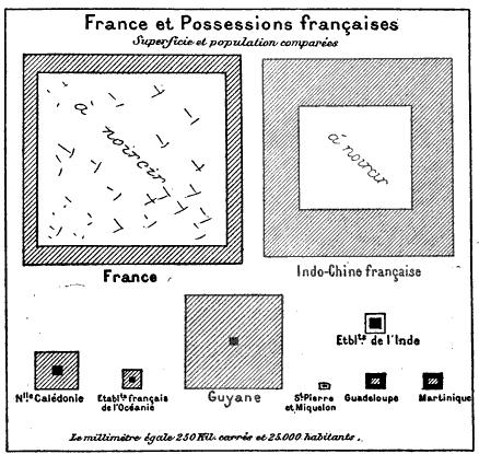 """Cartogram by Émile Levasseur published in"""" La France et ses Colonies"""", originally published 1875."""