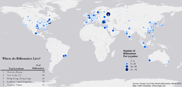 Map of Where Billionaires Live. Source: Forbes, March 2012.