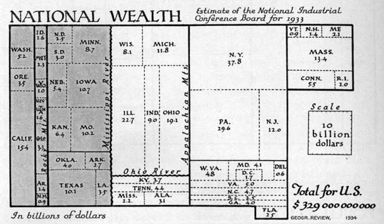 Cartogram map showing national wealth for the United States by Erwin Raisz, 1934.