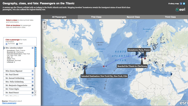 Map of the Titanic Voyage.  Source: Esri.