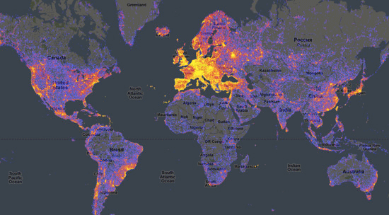 World touristiness map by Ahti Heinla.