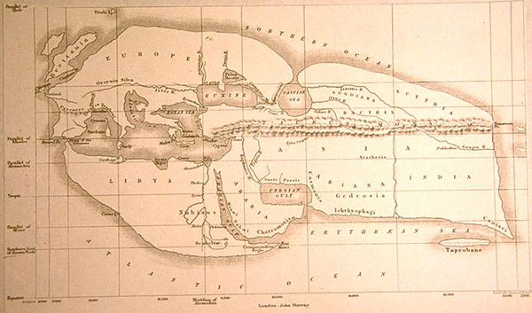 1883 Reconconstruction of Erasthone's World Map by E.H. Bunbury.