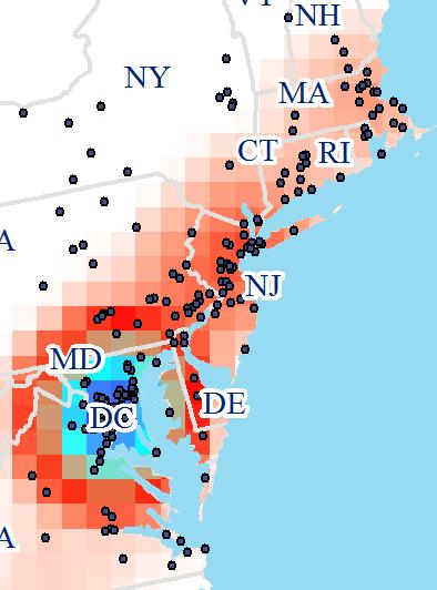 GIS job listings along the eastern coast.