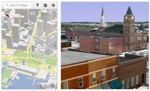 Google's 3D Geodata in Urban Areas.