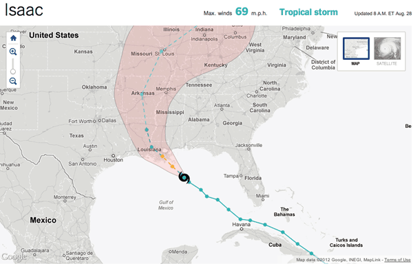 Hurricane Isaac Tracking Map - NY Times