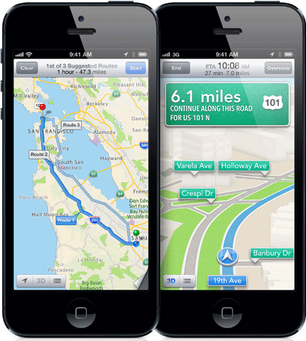 Apple's default map app with iOS 6