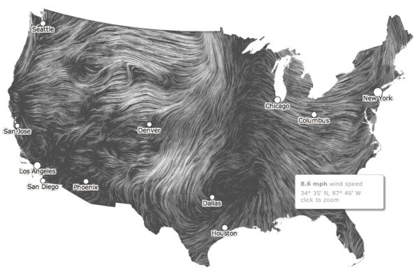 Dynamic Wind Map by Fernanda Viégas and Martin Wattenberg of the site Hint.FM
