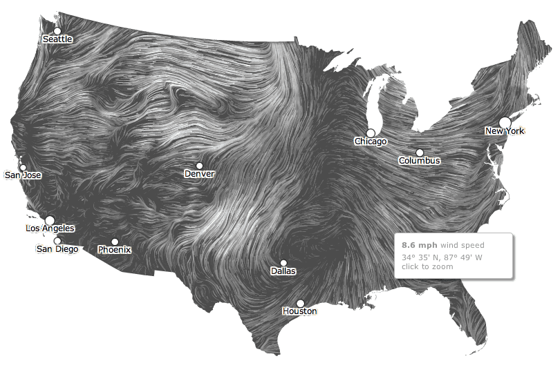 Dynamic Wind Map by Fernanda Viégas and Martin Wattenberg of the site Hint.FM