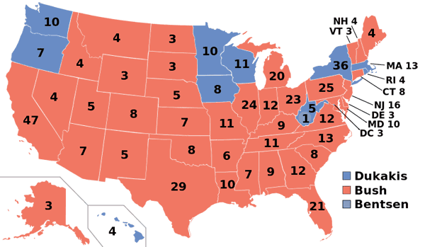 1988 presidential election map.
