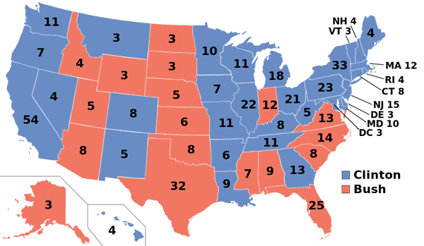 1992 presidential election map.