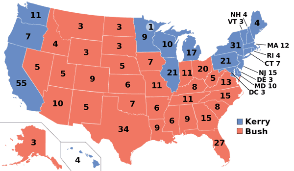 2004 presidential election map.