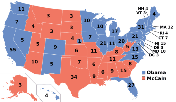 Presidential Election Maps from 1968 to 2012