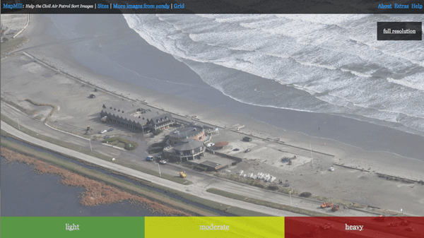 Hurricane Sandy crowdsourced image classification effort.