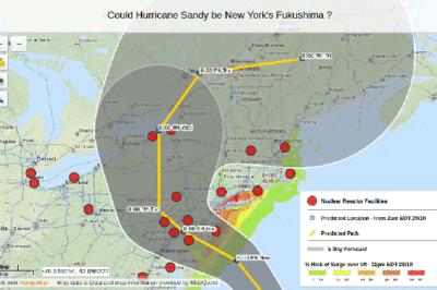 "A Hurricane Sandy map created using MangoMap entitled ""Could Hurricane Sandy be New York's Fukushima ?"""