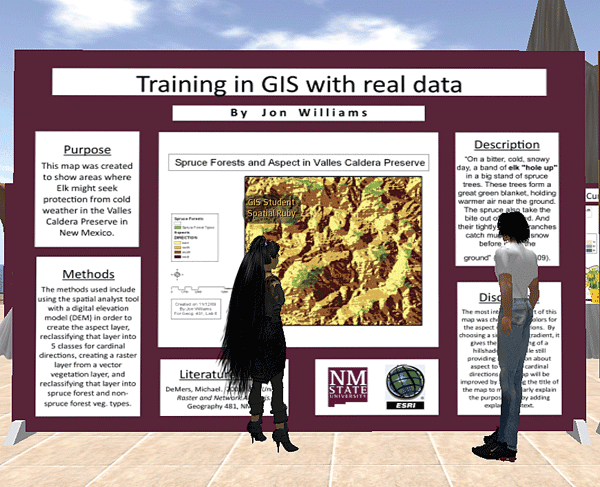 One of the virtual GIS Day map posters found in Second Life.