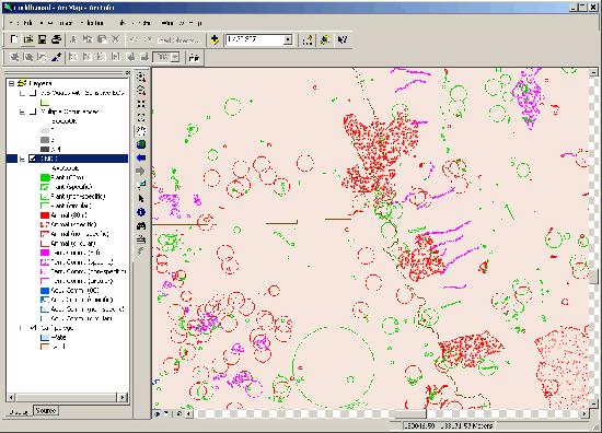A screenshot showing ArcMap.