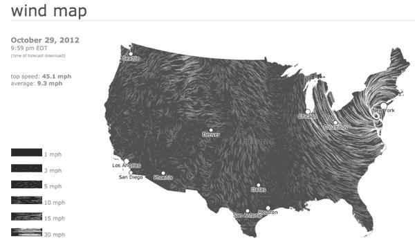 Wind Map Captures Hurricane Sandy.