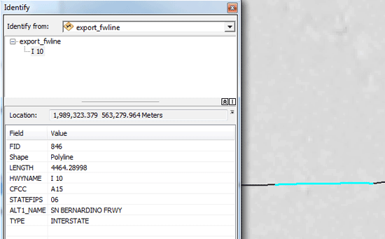Attribute data for a road in GIS.