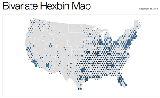 Hexagonal binning map showing the locations of 3,000 Walmart stores in the United States.