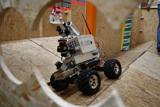 Robotic mapping using LiDAR. The robot was built by the Technische Universität Darmstadt in Germany.