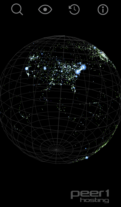 Screenshot from the iOS version of PEER1's Map of the Internet App.