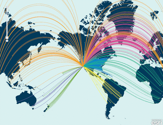 Map created by Esri showing where attendees at its 2011 International User Conference originated from around the world.