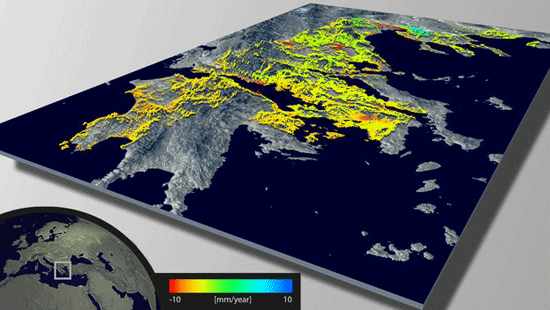 Example of wide-area mapping of terrain deformations over mainland Greece. This GPS-calibrated deformation map covers 65 000 sq km – approximately half of the country's territory. This map was created using 10 individual ERS-1/2 stacks, each stack being a time series of 58 to 76 SAR images acquired from 1992 to 2003 for a total of 671 images. Source: ESA.