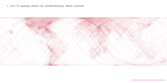 Map of the location of 1,129,177 photos taken from the International Space Station of the earth.