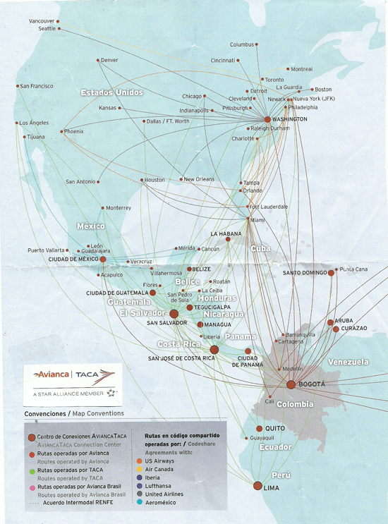 This in-flight magazine map showing where Avianca-Taca fly to contains numerous geographic errors.